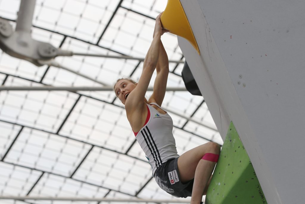 Janja Garnbret sends a sports (lead) climbing route