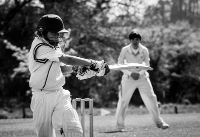 Cricketer hits the ball