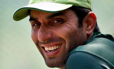 Misbah Ul Haq smiles at camera
