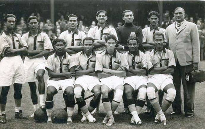 Barefoot Indian Football Team prior to the FIFA world cuo