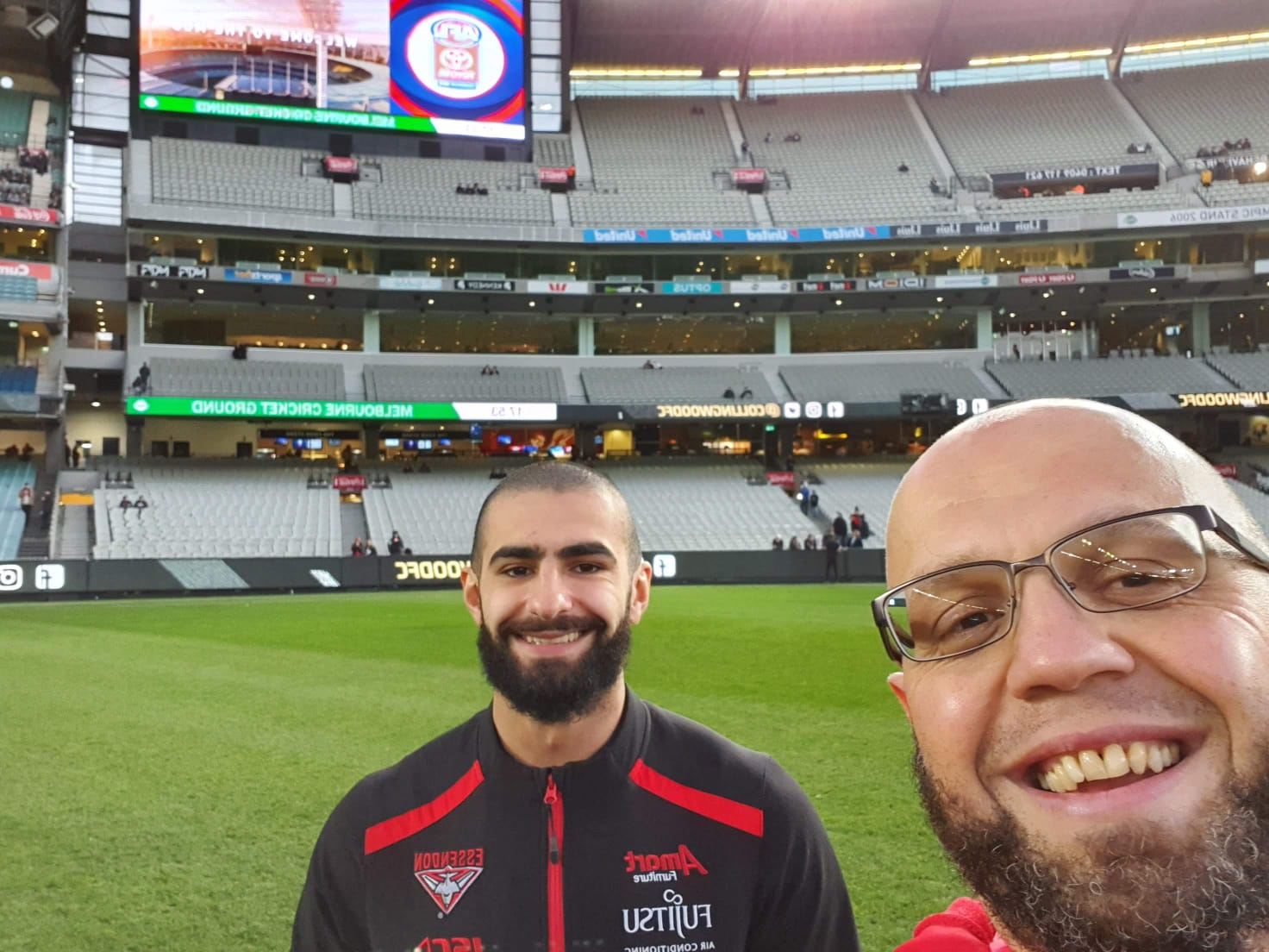 Wassim Rafihi with Adam Saad, AFL star at the stadium
