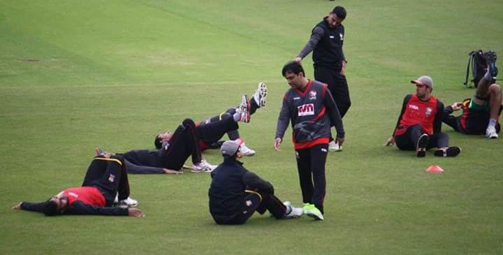 Asif Ejaz, UAE cricket, physiotherapist, with the players
