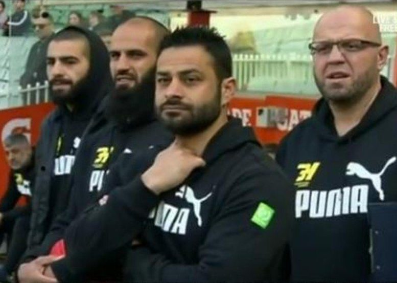 Wassim Rafihi in the dugout with Bachar Houli U18 at the MCG