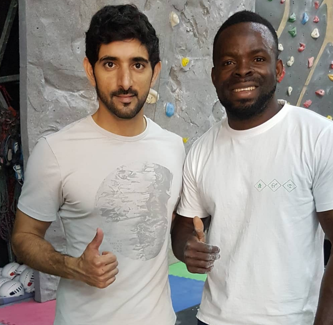 Precious Aviyore, coach at Rock Republic, with Sheikh Hamdan, Crown Prince of Dubai at Bouldering Gym