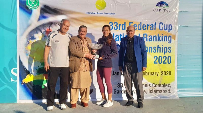Sarah Mahboob Khan - winner of 33rd Federal Cup National Ranking Tennis Championships