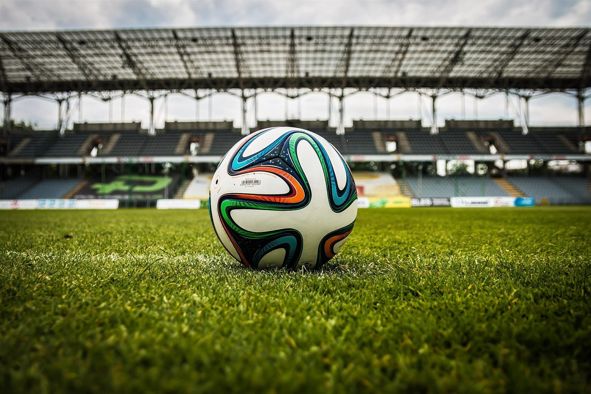 World cup football places in the middle of a soccer stadium