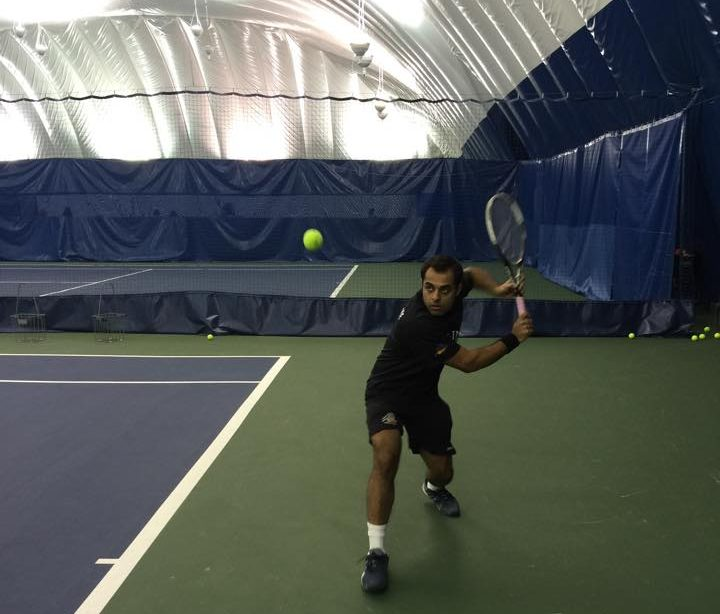 Sikander Hayat plays a tennis shot