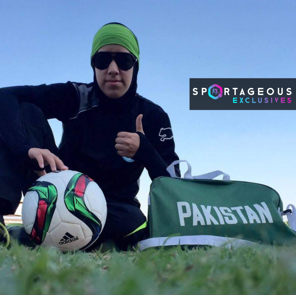 Abiiha Haider with a football in this Sportageous Exclusive