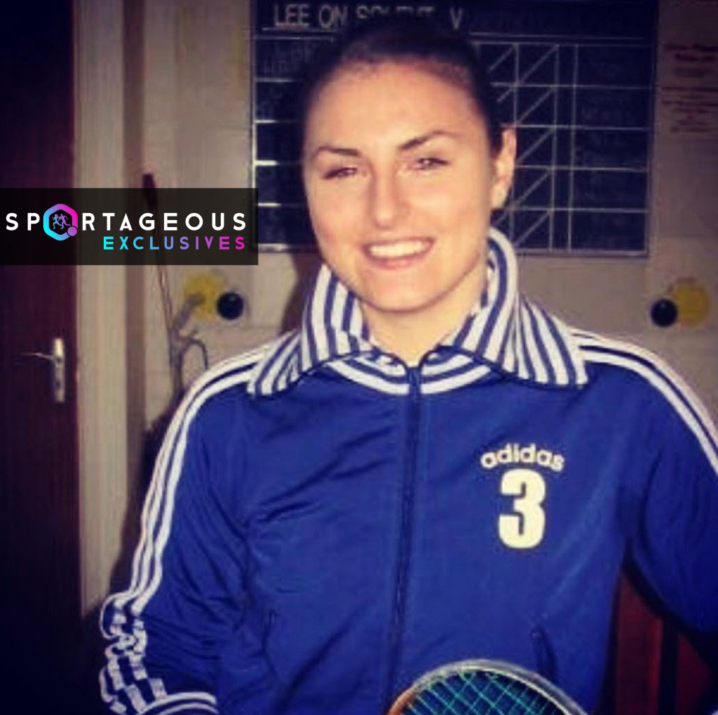 Carla Khan, Pakistan squash player poses for picture