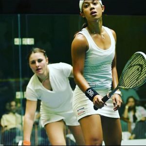 Carla Khan faces off against Nicol David in the squash court