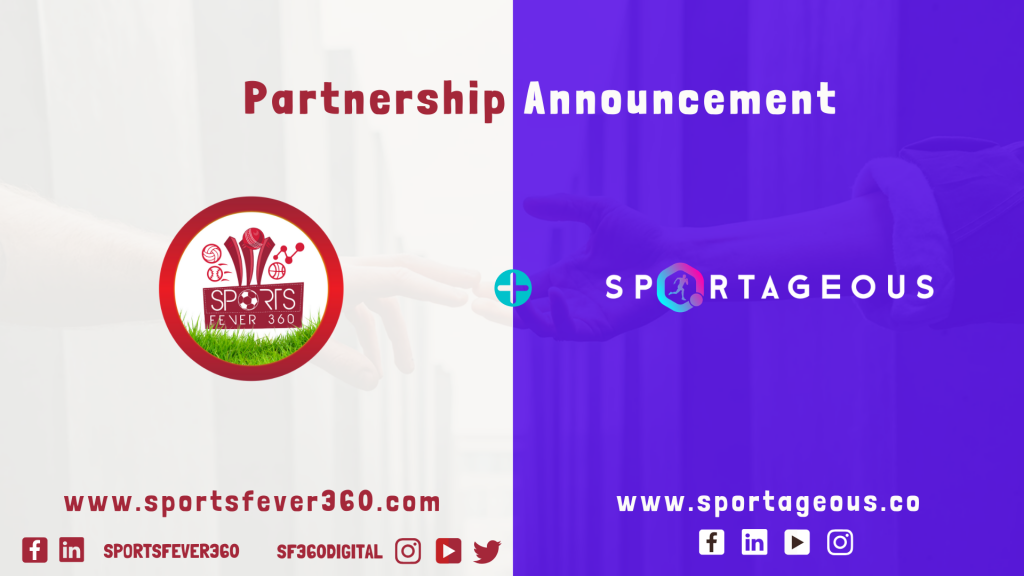 Partnership announcement logo: Sportageous and SportsFever 360