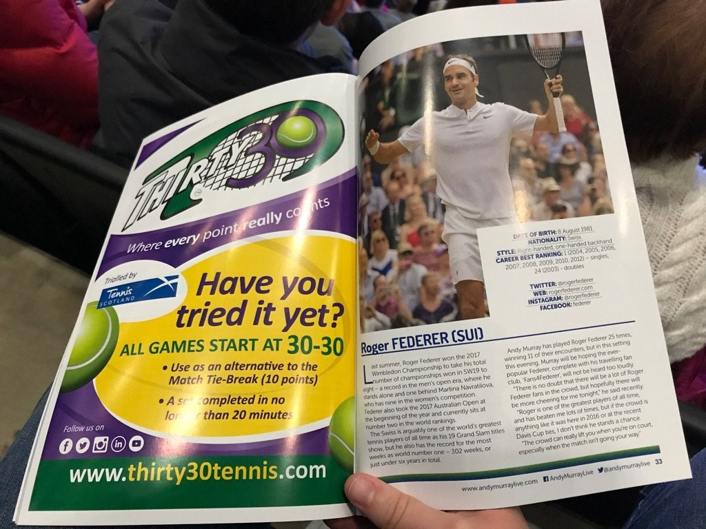 Thirty30 tennis in a magazine