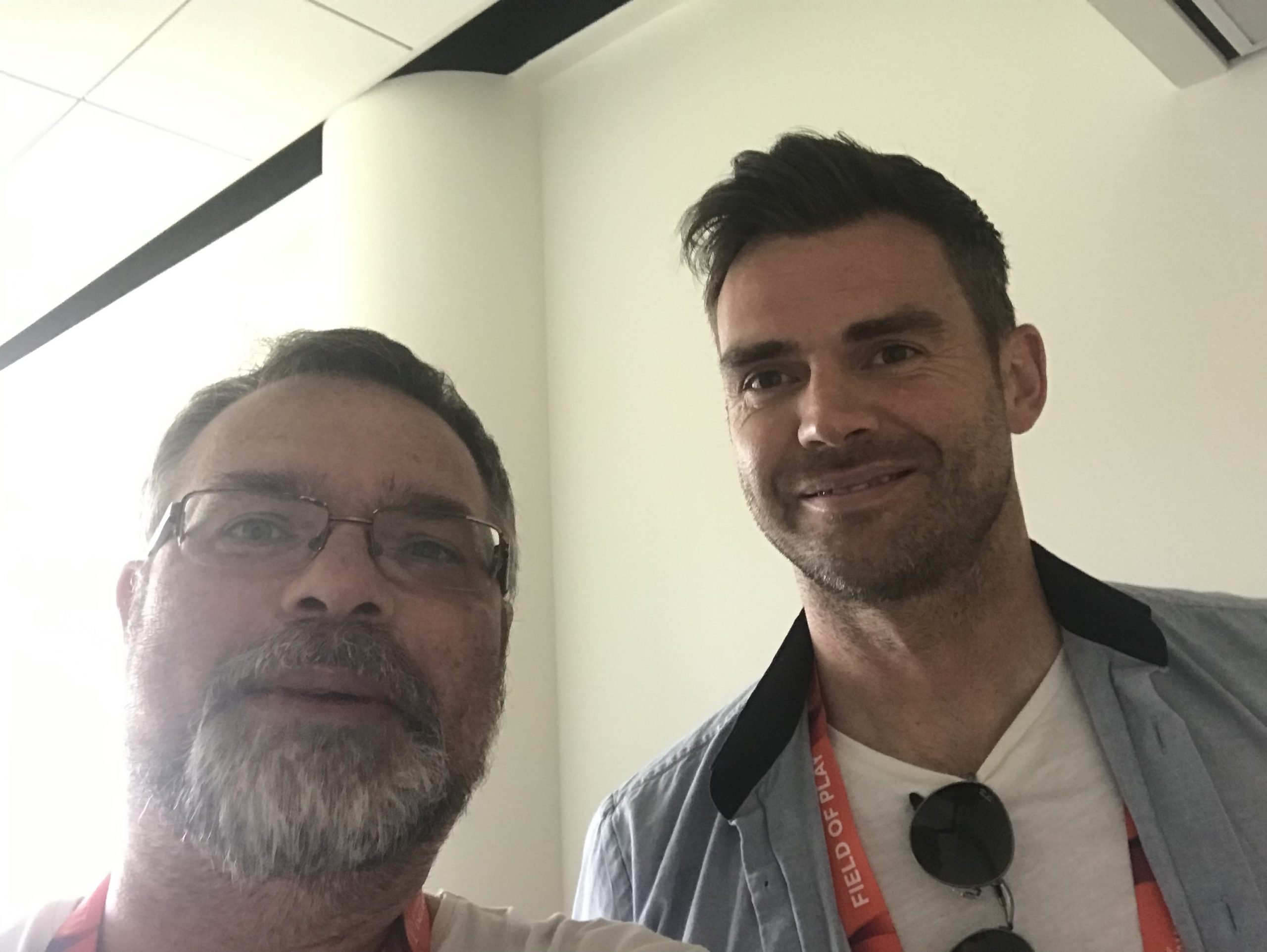 Guerilla cricket founder, Nigel Walker, poses with Jimmy Anderson