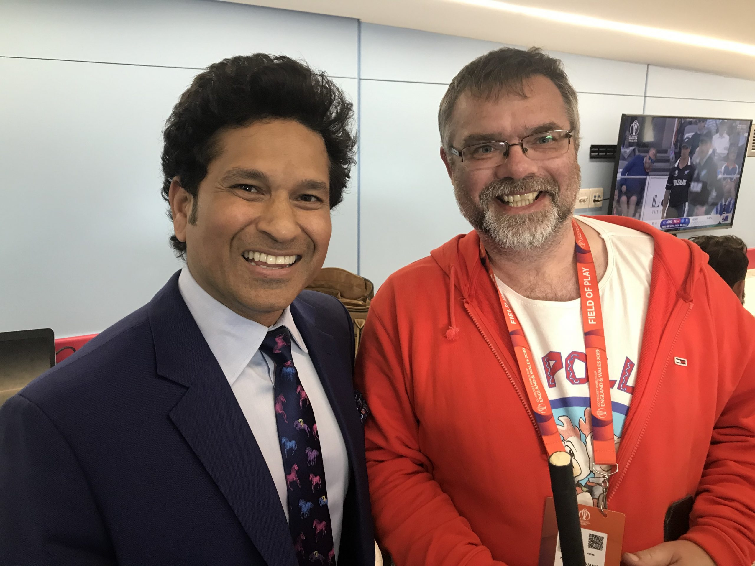 Sachin Tendulkar poses with founder of Guerilla Cricket, Nigel Walker