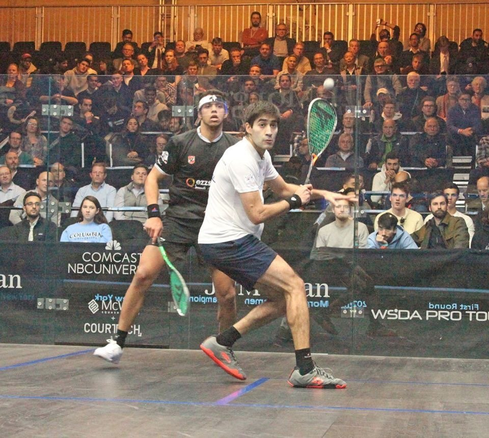 ramit tandon from India prepares for a shot on the squash court