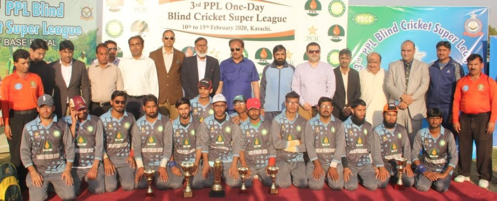 Sultan Shah poses with the team at the 3rd PPL One-day Blind Cricket Super League